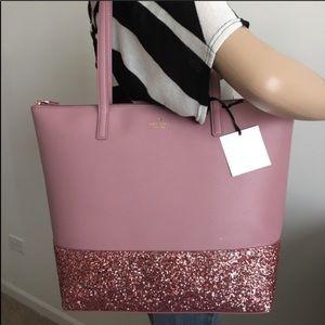 Kate spade Greta court Penny pink glitter tote